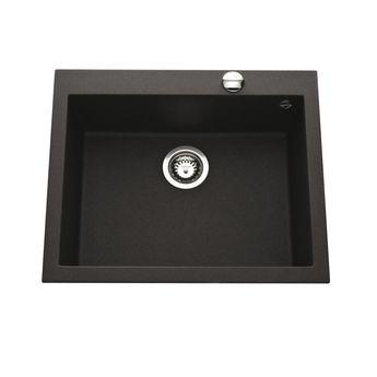 Évier granit noir moucheté Luisina QUADRILLE 1 bac  570x500