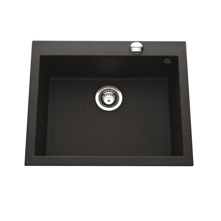 Évier granit noir moucheté Ewi URBIA 1 bac  570x500