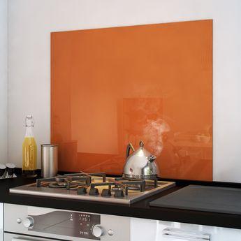Crédence fond de hotte verre brillant - Orange - Hauteur 75cm