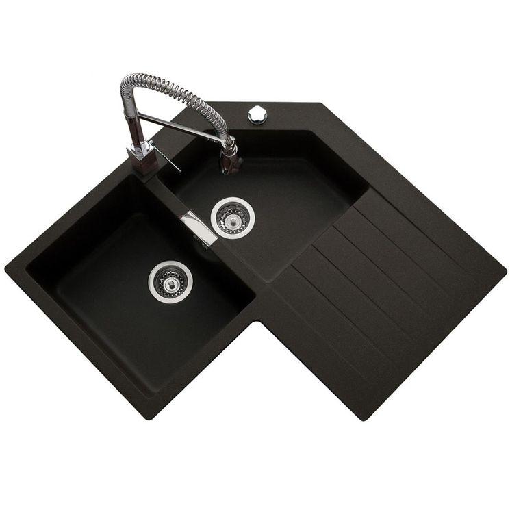 Évier d´angle granit noir Schock LOKTI 2 bacs 1 égouttoir