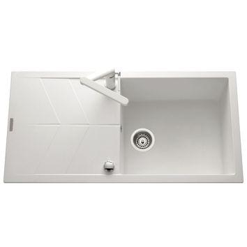 lot evier granit blanc 1 grand bac nova mitigeur crbmi058 cuisissimo. Black Bedroom Furniture Sets. Home Design Ideas