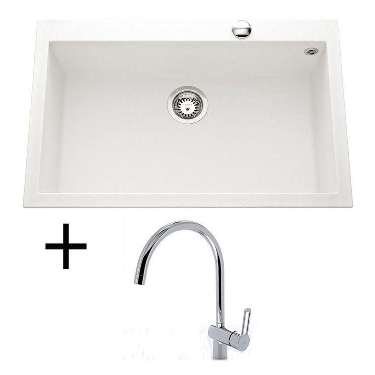 Lot Evier granit blanc 794x504 Luisina QUADRILLE + Mitigeur CRBMI071