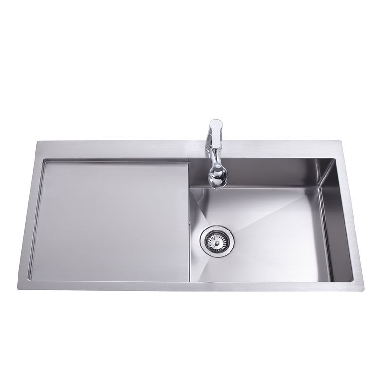 Evier inox 1 grand bac gouttoir gauche luny des for Grand evier inox