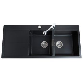 Évier granit noir Schock HORIZONT 2 bacs égouttoir à gauche