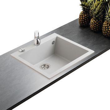 vier urbia en granit noir mouchet 1 bac sans gouttoir 57x50cm. Black Bedroom Furniture Sets. Home Design Ideas