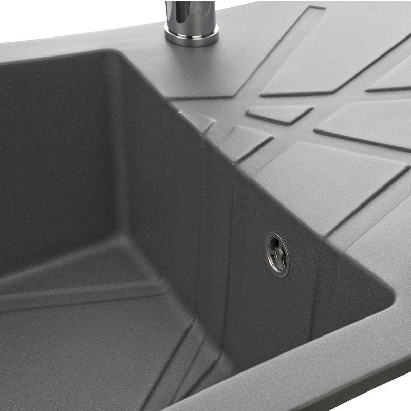 Evier design en granit gris 1 bac k mbad curuba for Evier resine gris 1 bac