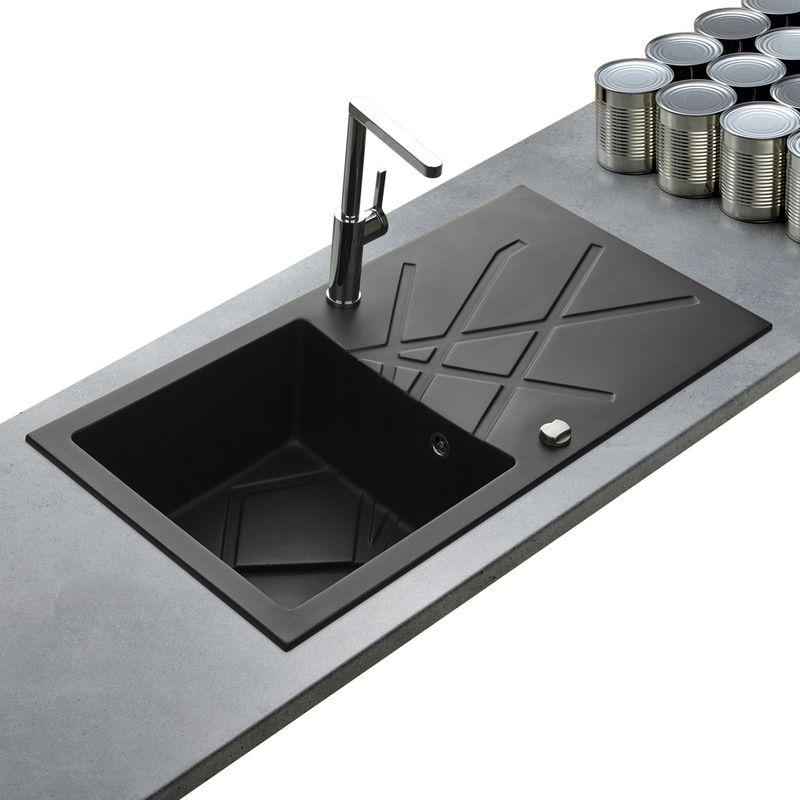lot evier granit noir 1 bac curuba mitigeur grohe. Black Bedroom Furniture Sets. Home Design Ideas