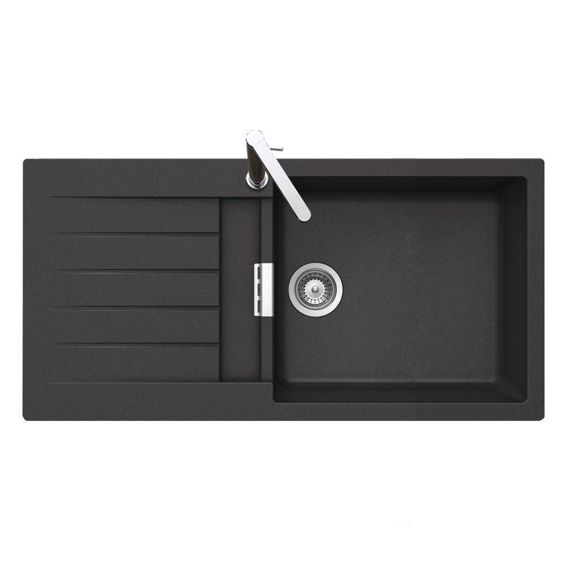 vier granit noir schock lokti 1 grand bac 1 gouttoir cuisissimo. Black Bedroom Furniture Sets. Home Design Ideas