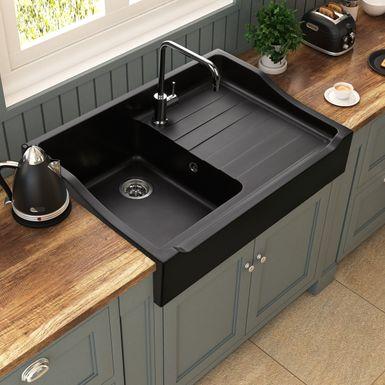 Evier Timbre D Office A Poser 1 Bac Tamarin En Granit Noir Pour