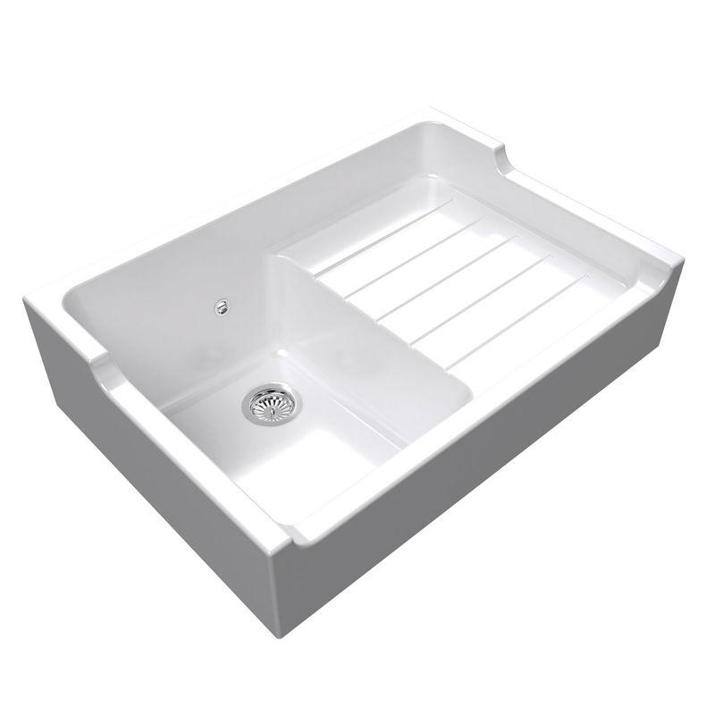 lot evier poser c ramique blanc gabin 1 bac mitigeur. Black Bedroom Furniture Sets. Home Design Ideas