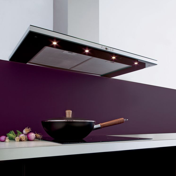 Hotte cuisine murale Silverline KANDY inox et verre noir 90 cm