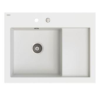 Evier à poser en granit blanc Kümbad BOLTO 1 bac - égouttoir droite