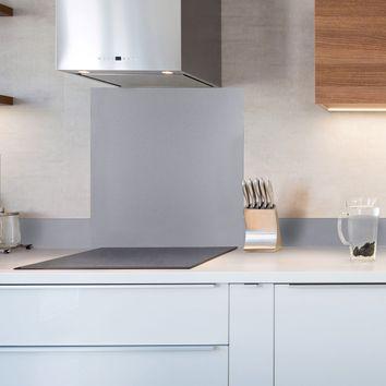 cr dence fond de hotte verre brillant gris hauteur 75cm cuisissimo. Black Bedroom Furniture Sets. Home Design Ideas