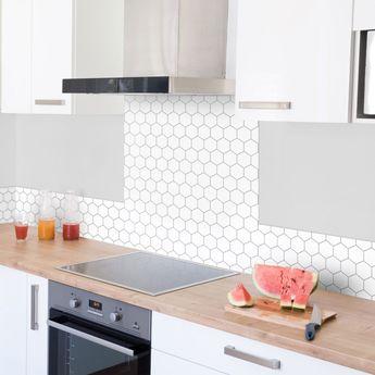 Crédence cuisine aluminium 99 Déco - Motif ALVEOLES blanc - 60x70 cm