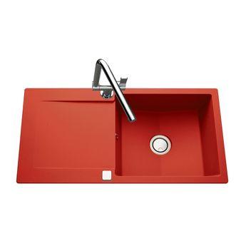 Évier granit rouge Luisina EPURE 1 grand bac 1 égouttoir