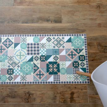 Tapis en vinyle - Carreaux de Ciment PATTY Rose Vert