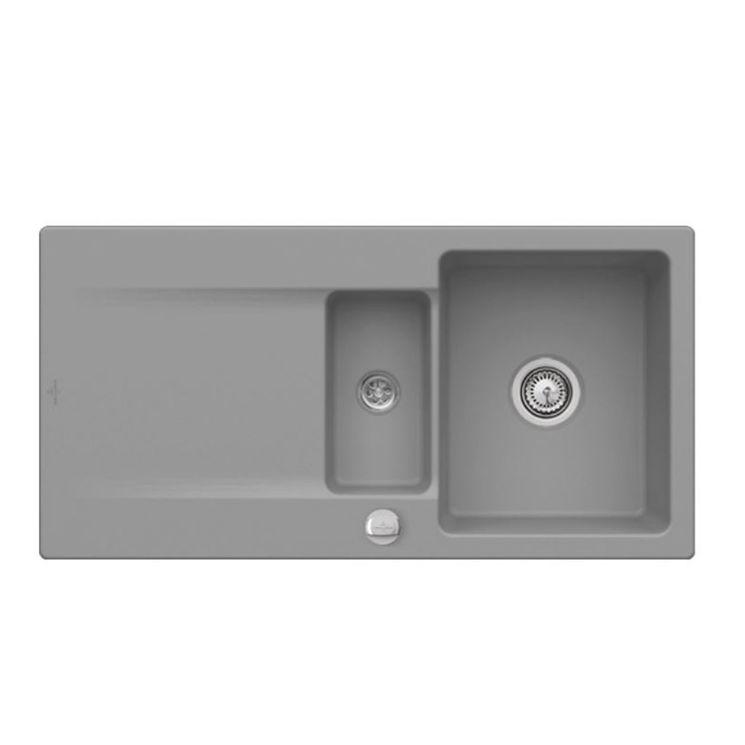 Evier à encastrer CeramicPlus gris stone Villeroy & Boch SILUET 60 1 bac 1/2 1 égouttoir