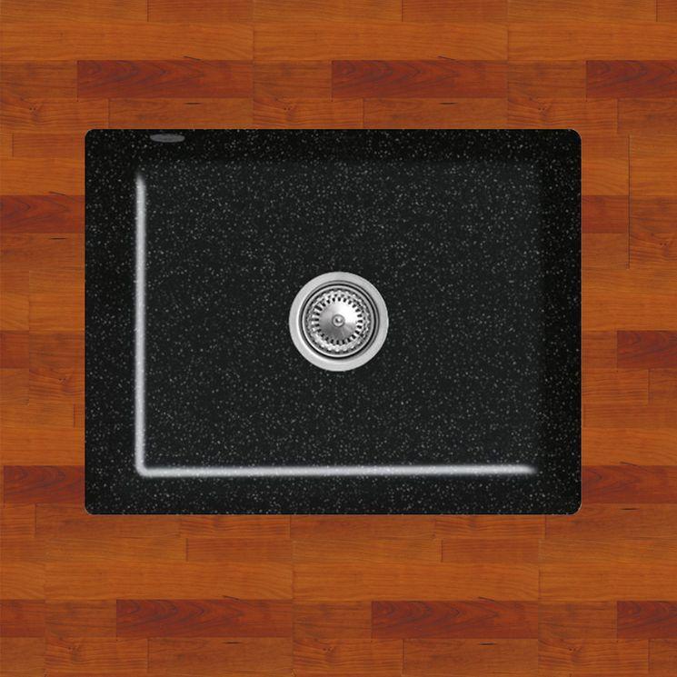 Evier sous plan céramique noir brillant Villeroy & Boch SUBWAY 60