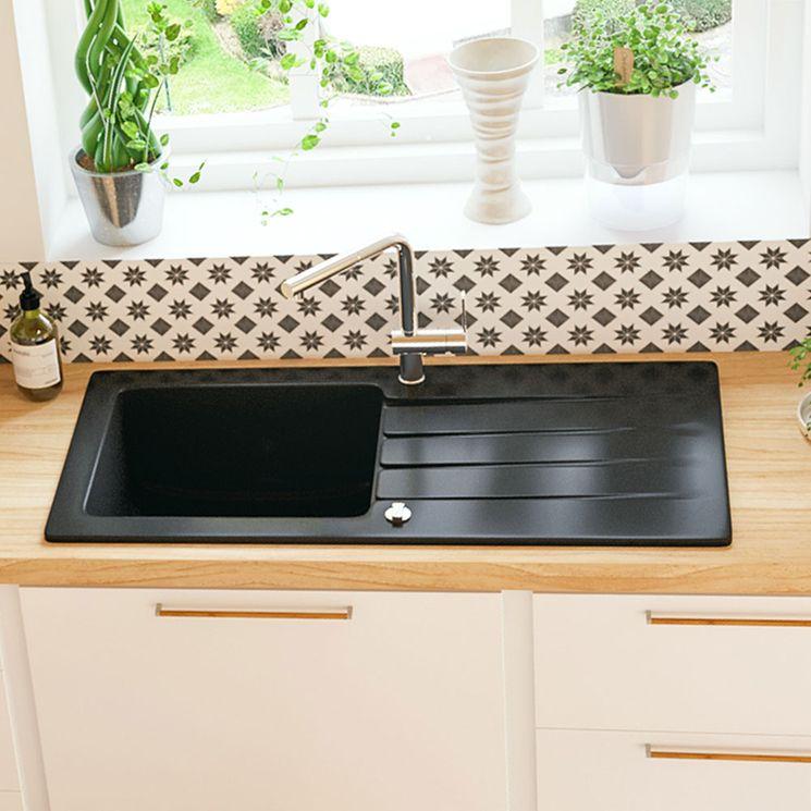 Evier céramique noir brillant Villeroy & Boch ARCHITECTURA 1 grand bac 1 égouttoir