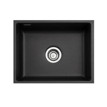 Evier sous plan céramique Luisina noir brillant RUBATO 1 bac 551x441
