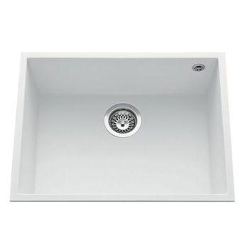 Évier sous plan granit blanc Luisina QUADRILLE 1 bac  580x440