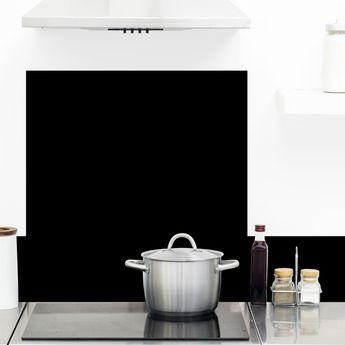 Crédence cuisine aluminium 99 Déco - Noir Intense TOTAL BLACK