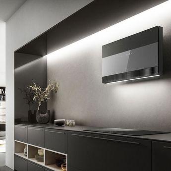 Hotte cuisine Elica murale SUPER PLAT verre gris + effet fonte 80 cm