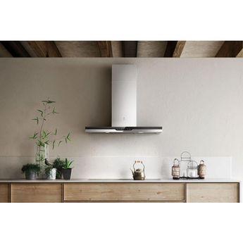 Hotte cuisine murale Elica TOP inox et verre noir
