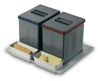 Poubelle de cuisine plateaux porte seaux YRELIA - 2x16 litres