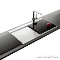 Évier inox lisse Apell OSIRIS 1 bac avec égouttoir à gauche + 2 planches en verre noir
