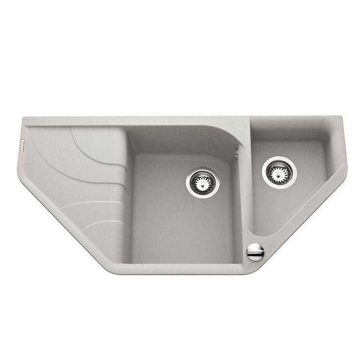 Évier d´angle granit gris métal Elleci AVARA 1 bac 1/2 - Égouttoir à gauche