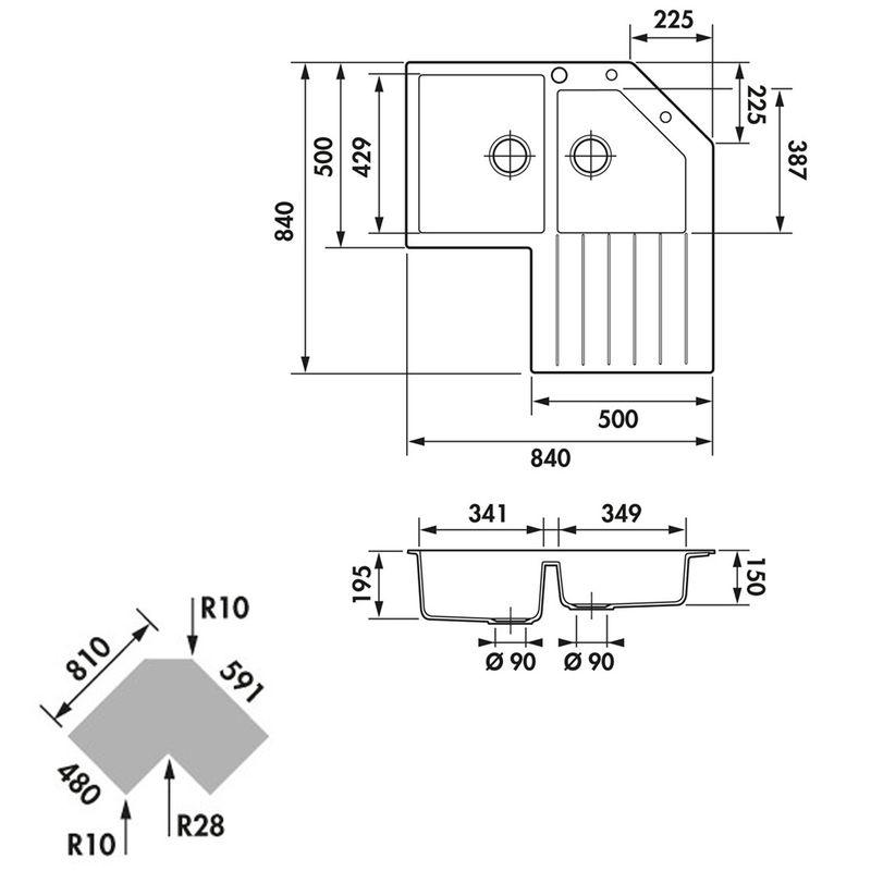 Vier d angle granit noir schock lokti 2 bacs 1 gouttoir for Dimension meuble d angle cuisine